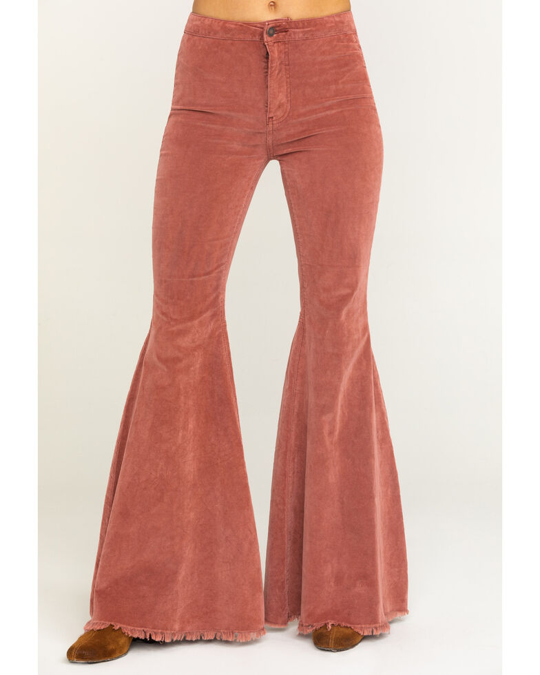 Free People Women's  Corduroy Just Float On Flare Jeans, Dusty Rose, hi-res