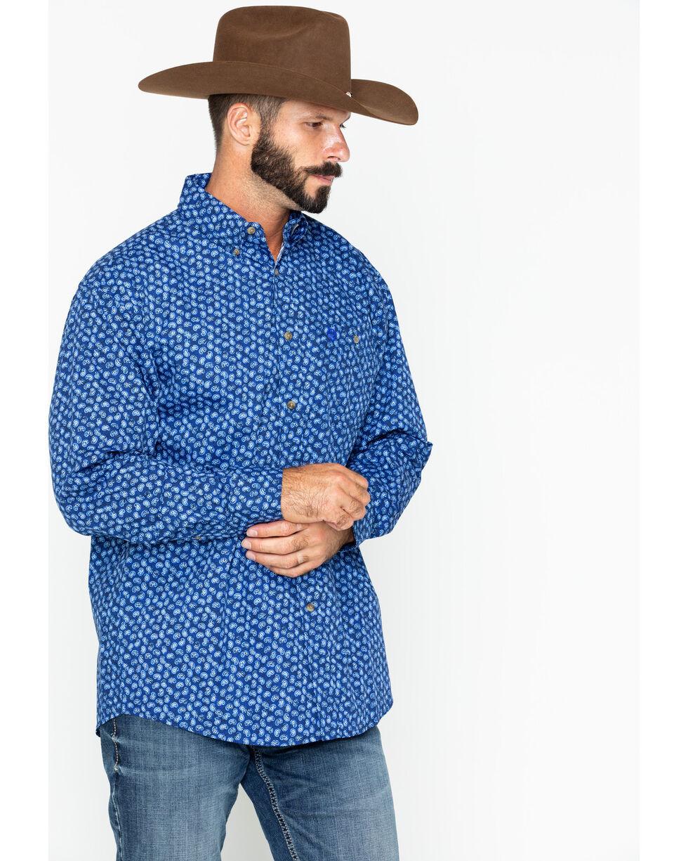 George Strait by Wrangler Paisley Print Long Sleeve Western Shirt , Blue, hi-res
