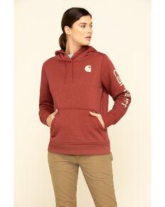 Carhartt Women's Clarksburg Logo Hoodie Sweatshirt, Dark Red, hi-res