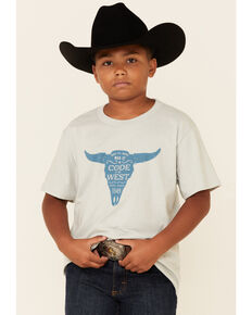 Cody James Boys' Code Of The West Bulls Head Graphic Short Sleeve T-Shirt , Silver, hi-res