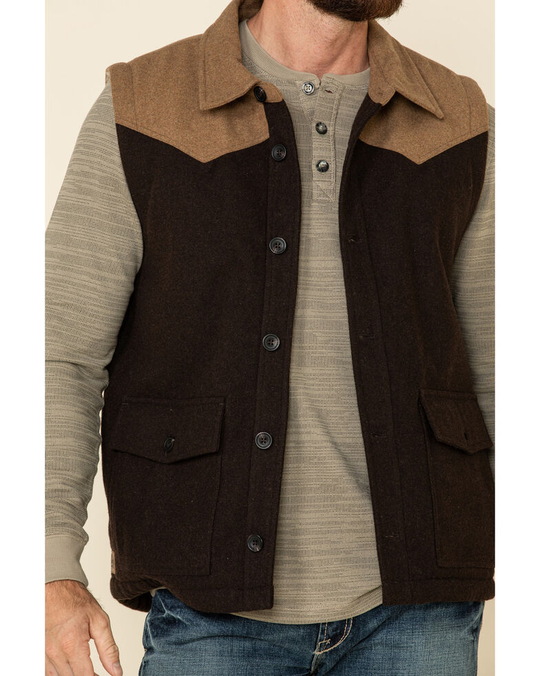 Moonshine Spirit Men's Grand Forks Color Blocked Wool Vest  , Brown, hi-res