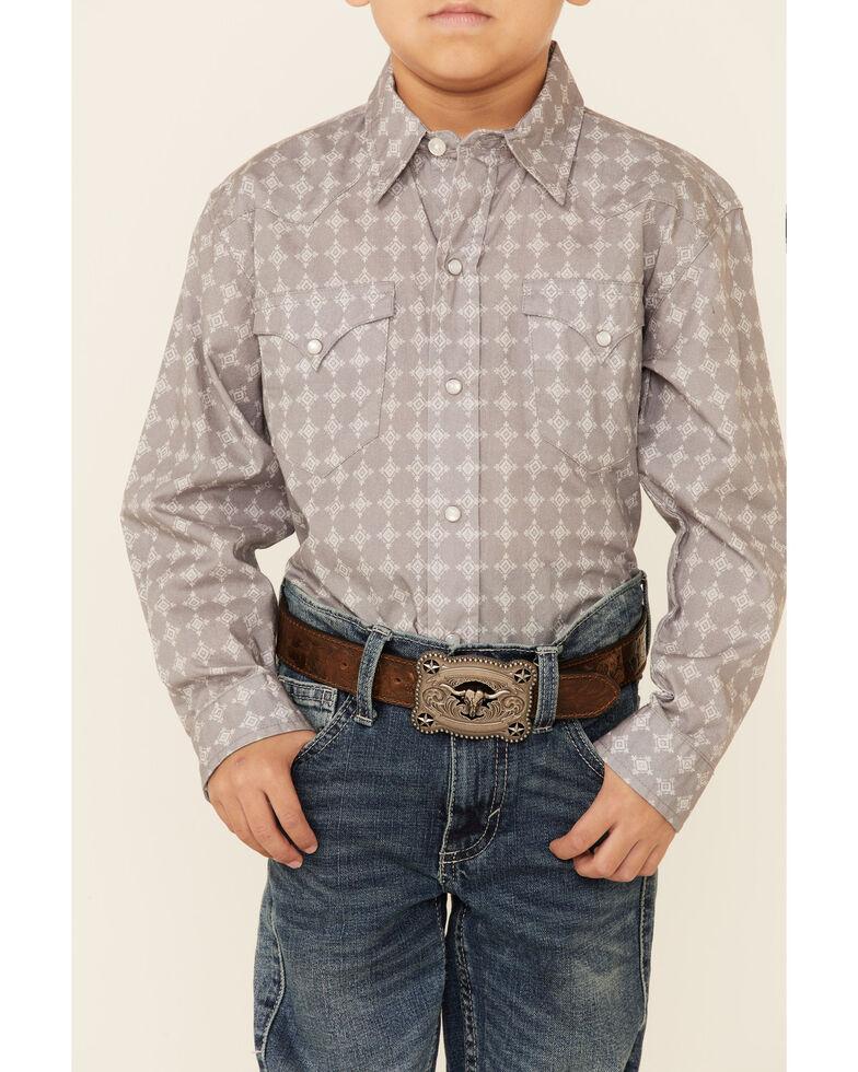 Roper Boys' Tribal Diamond Geo Print Long Sleeve Snap Western Shirt , Grey, hi-res