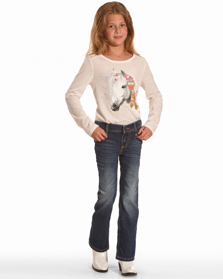 Wrangler Girls' Multi Stitch Boot Cut Slim Fit Jeans, Blue, hi-res