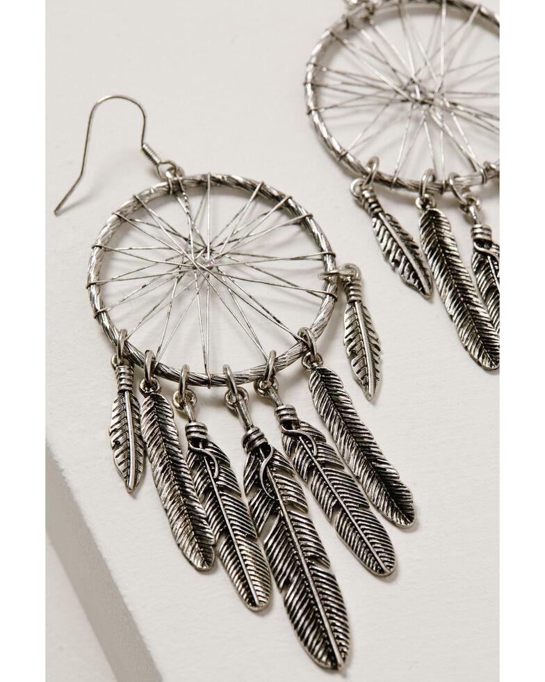 Shyanne Women's Wild Soul Dreamcatcher Fringe Hoop Earrings, Silver, hi-res