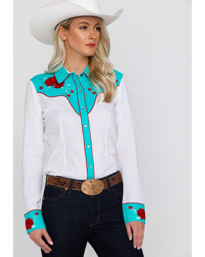Rock & Roll Cowgirl Women's Retro Rose Embroidered Rodeo Long Sleeve Western Shirt, White, hi-res