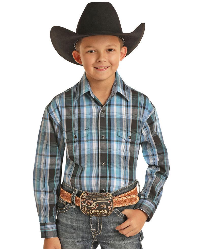 Panhandle Select Boys' Black Yarn Dye Plaid Long Sleeve Western Shirt , Black, hi-res