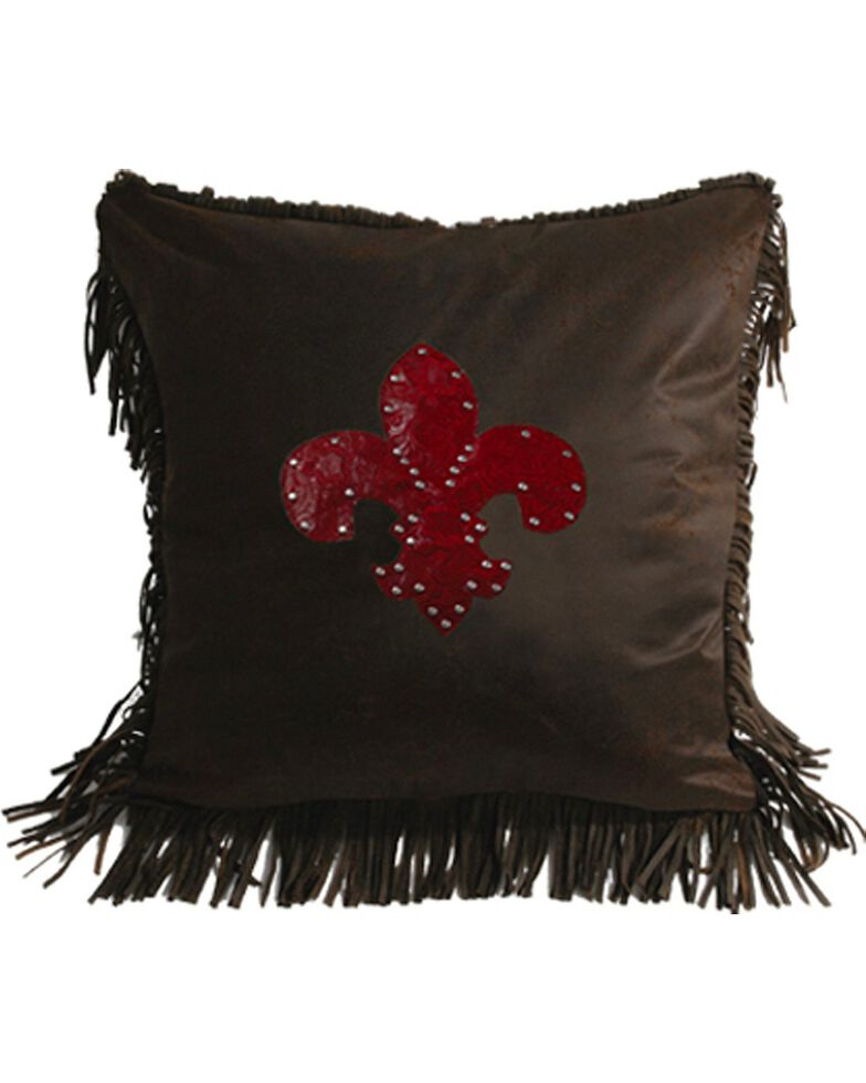 HiEnd Accents Cheyenne Fleur De Lis Tooled Square Pillow, Multi, hi-res