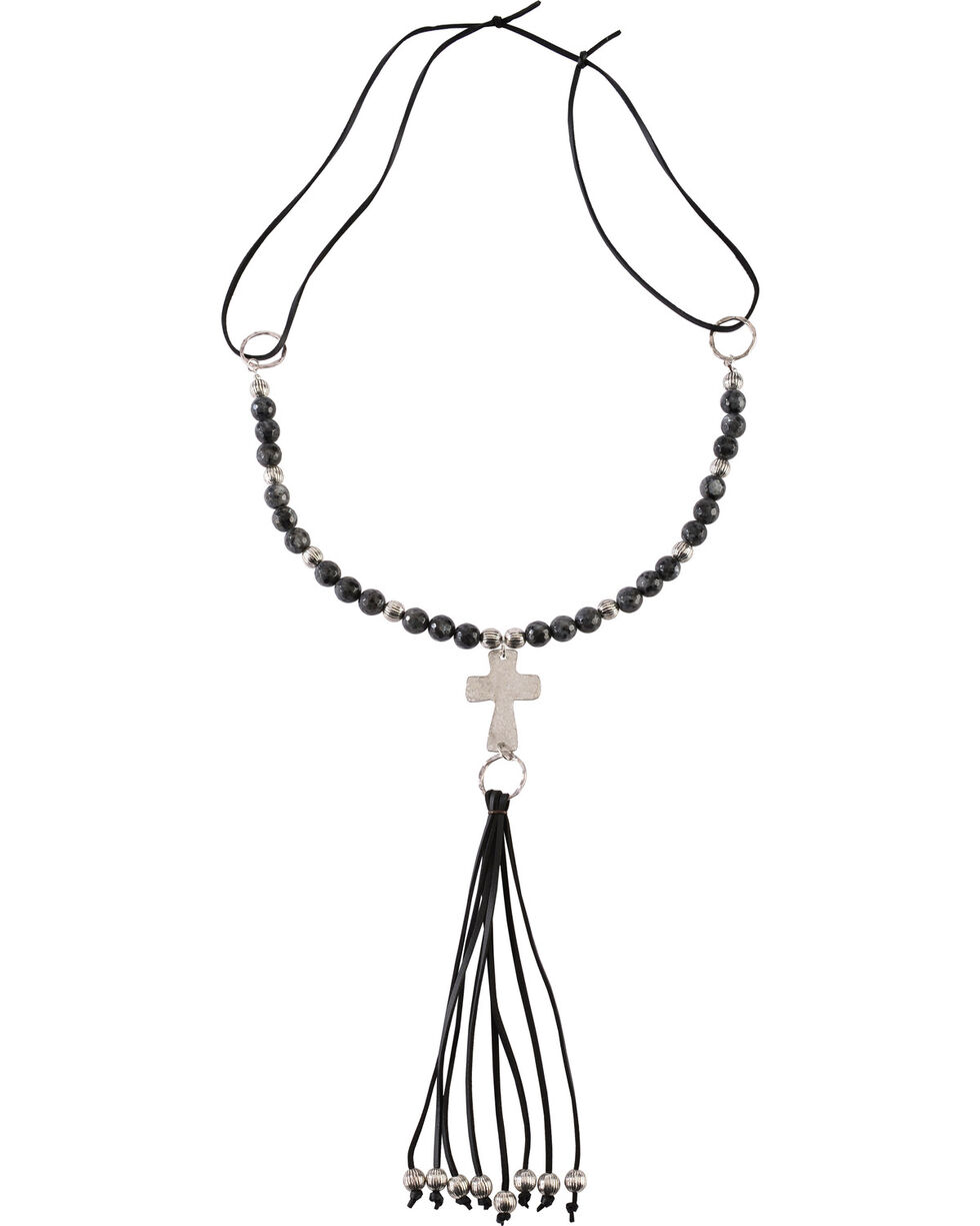 Jewelry Junkie Black Labradorite Beaded Necklace with Long Leather Fringe, Black, hi-res