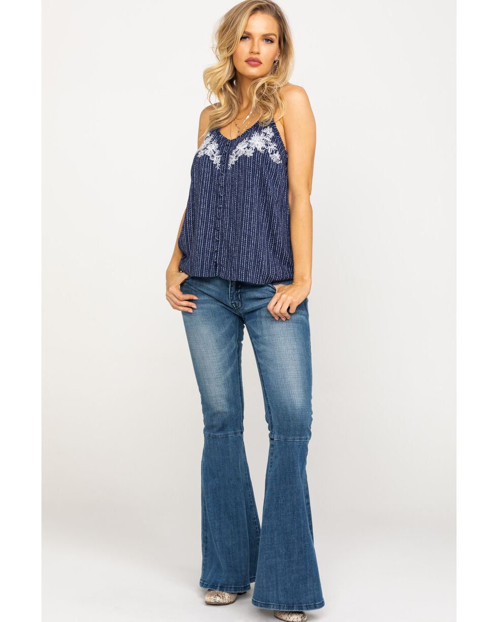 Miss Me Women's Etched Stripe Button Down Cami, Navy, hi-res