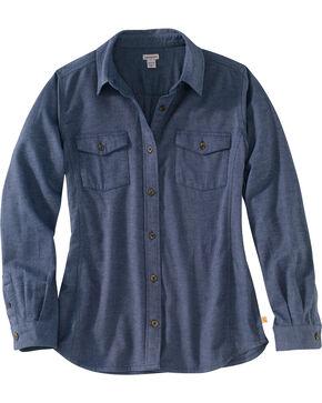 Carhartt Women's Rugged Flex Hamilton Flannel Work Shirt , Slate, hi-res
