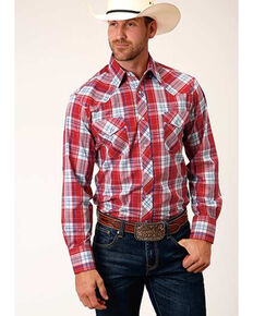 Roper Men's Red Classic Large Plaid Long Sleeve Snap Western Shirt , Red, hi-res
