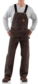 Carhartt Unlined Sandstone Bib Overalls, Dark Brown, hi-res