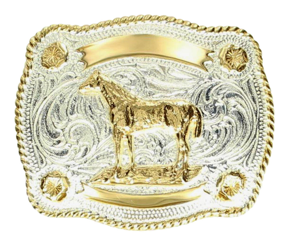 M & F Western Kids' Fancy Horse & Banner Belt Buckle, Silver, hi-res