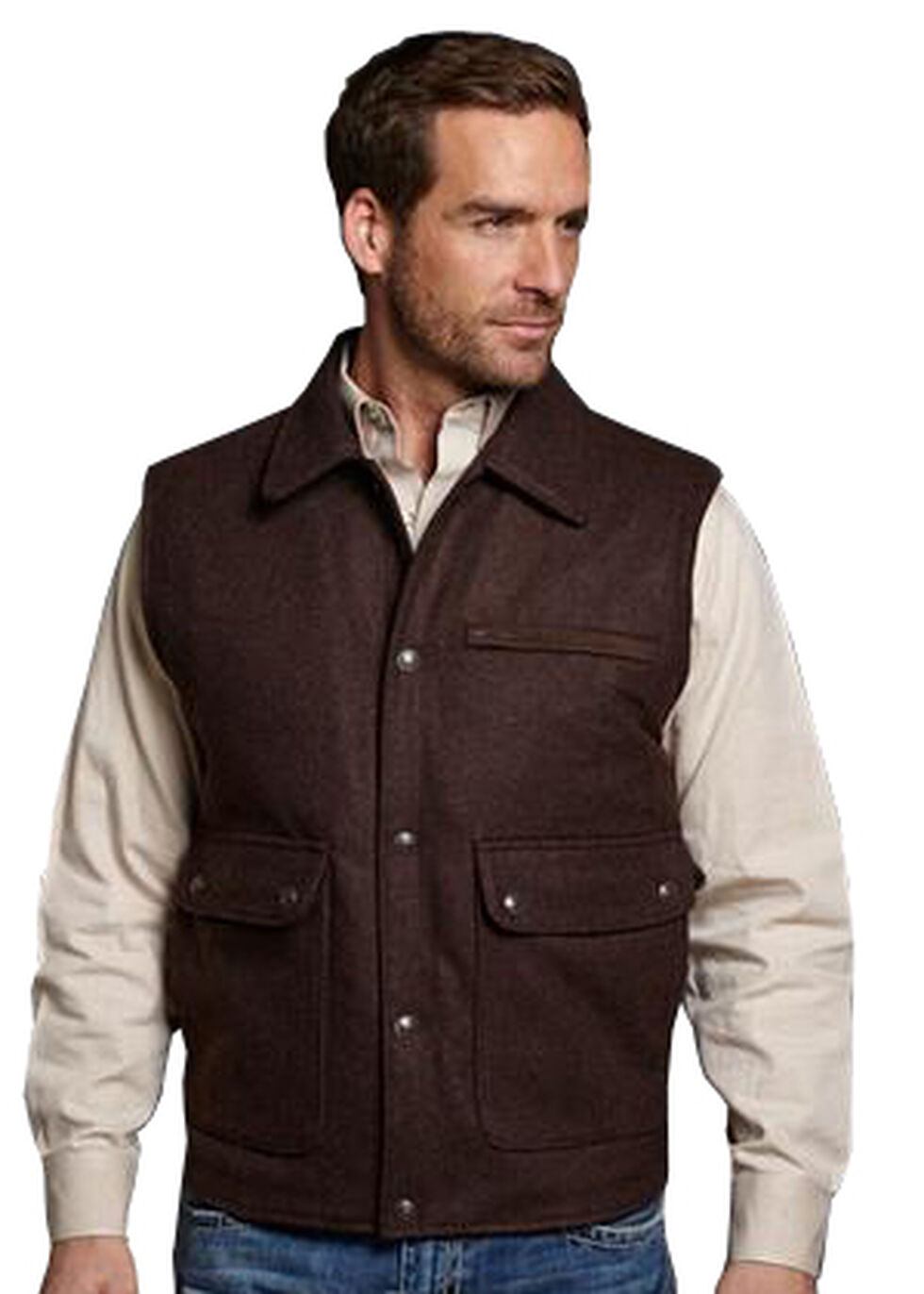 Cripple Creek Leather Trim Wool Vest, Brown, hi-res