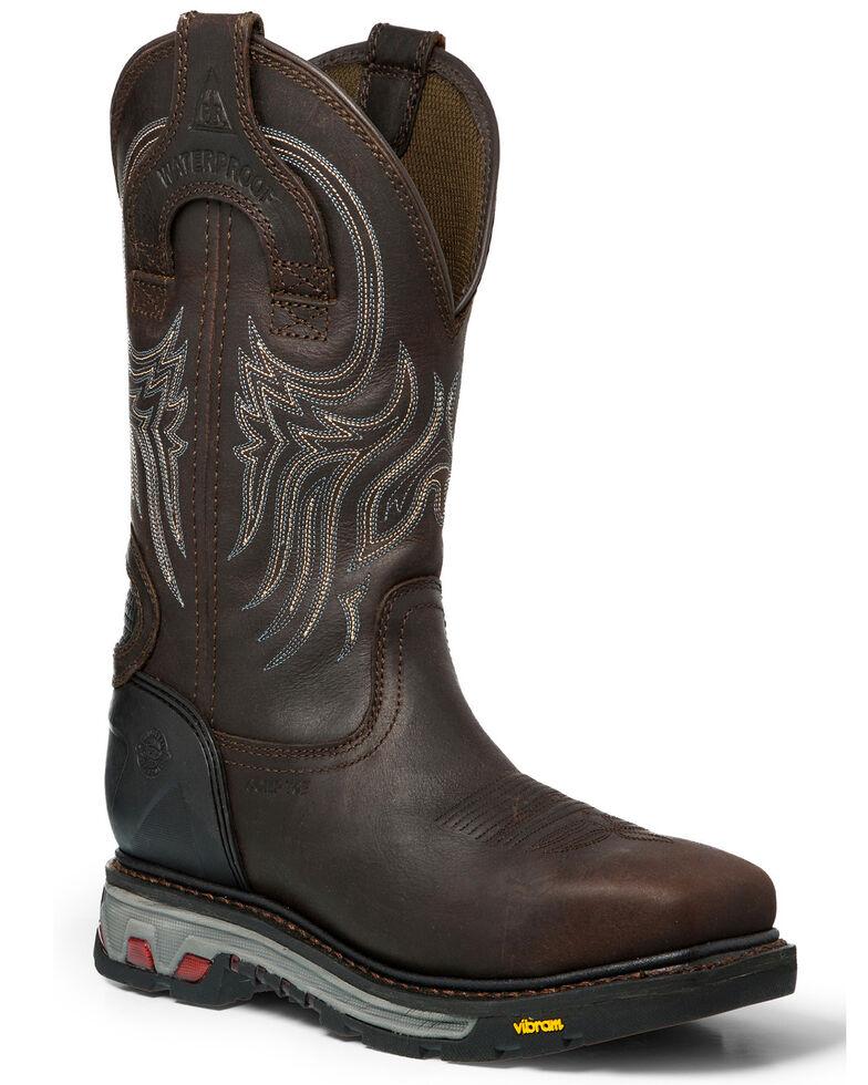 Justin Men's Warhawk Waterproof Work Boots - Composite Toe, Brown, hi-res