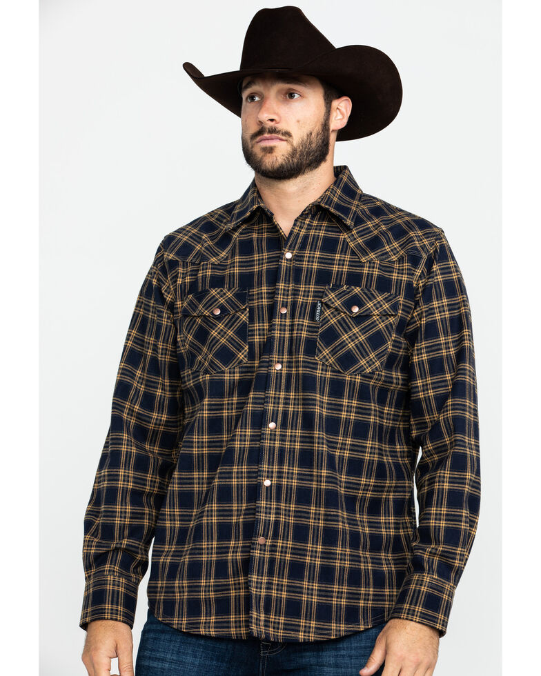 Outback Trading Co. Men's Bowman Workman Flannel Shirt , Navy, hi-res