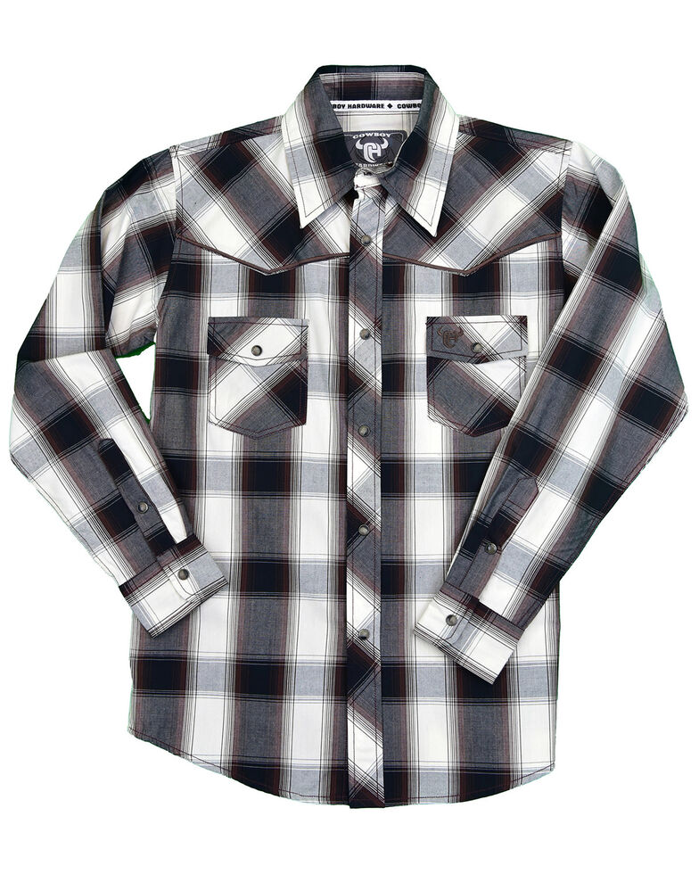Cowboy Hardware Toddler Boys' Hombre Plaid Long Sleeve Snap Western Shirt , Black, hi-res