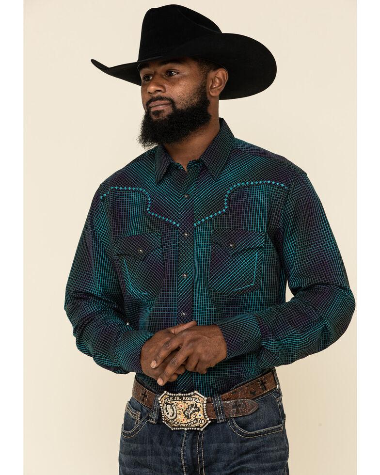 Rock 47 By Wrangler Men's Black Embroidered Geo Print Long Sleeve Western Shirt , Black, hi-res
