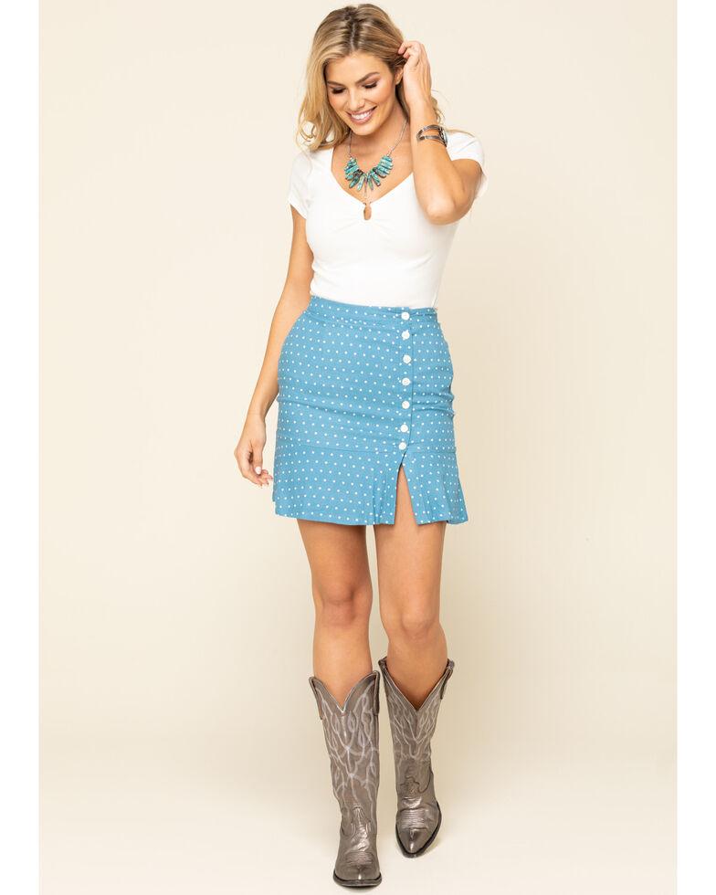 Idyllwind Women's Blue On The Dot Side Slit Skirt, Blue, hi-res