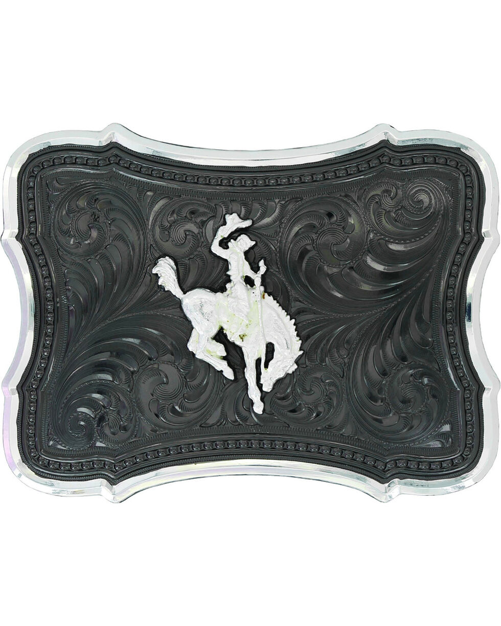 Montana Silversmiths Gunmetal Scalloped Point with Ranch Rodeo Buckle , No Color, hi-res