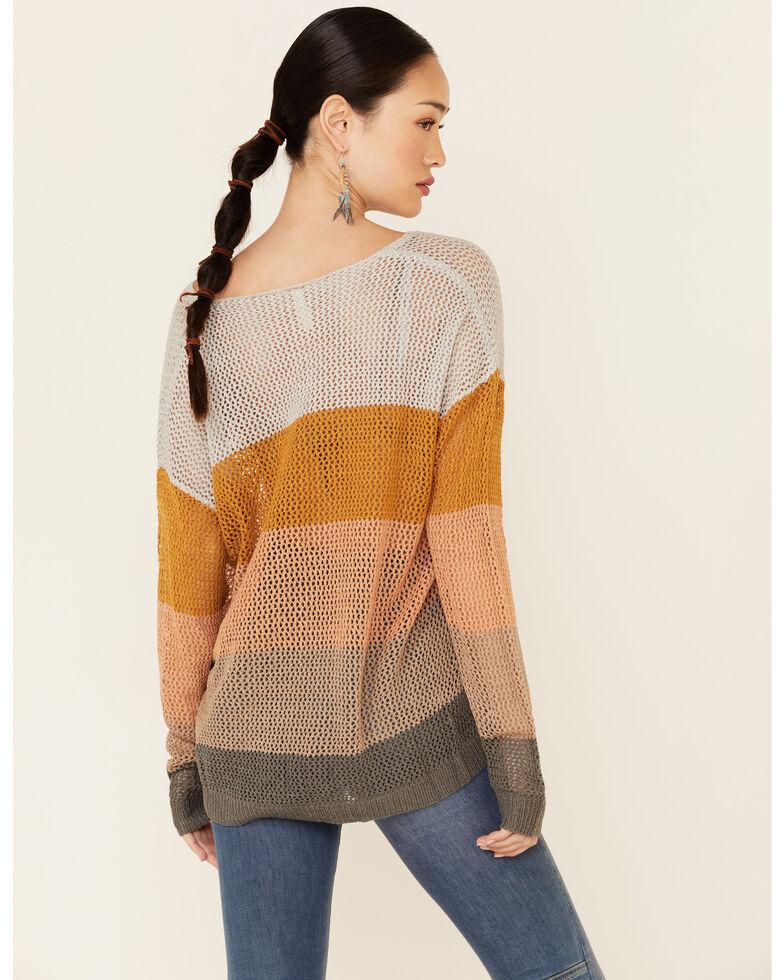 Wishlist Women's Cloud Striped Open Weave Pullover Sweater , Tan, hi-res