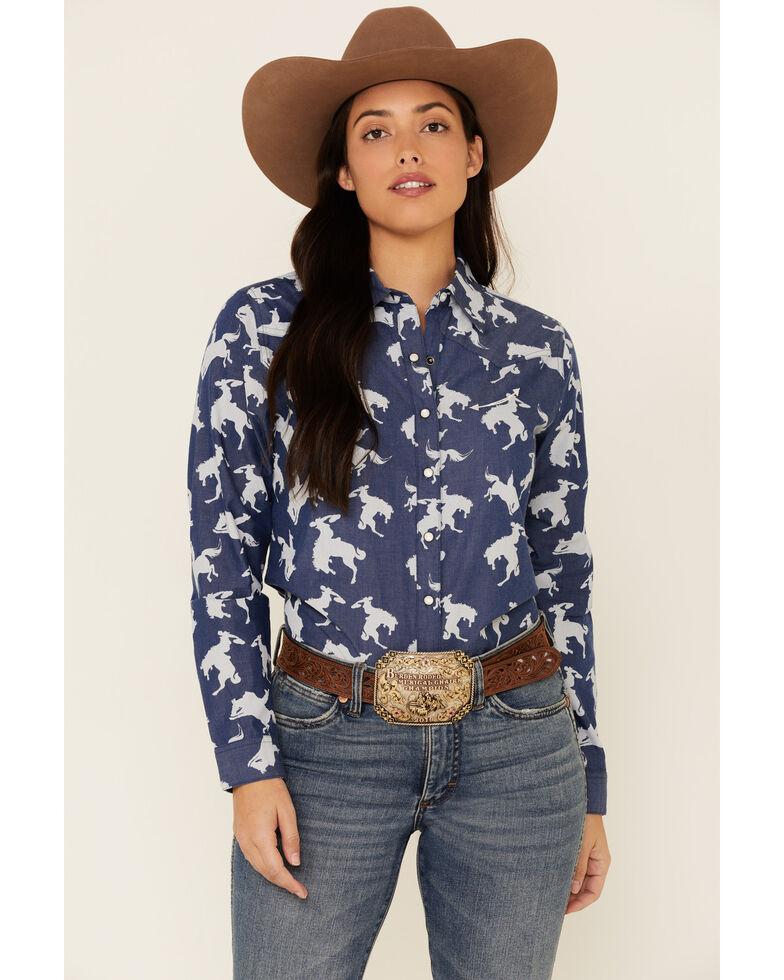 Cruel Girl Women's Denim All-Over Bronco Print Long Sleeve Western Core Shirt , Blue, hi-res