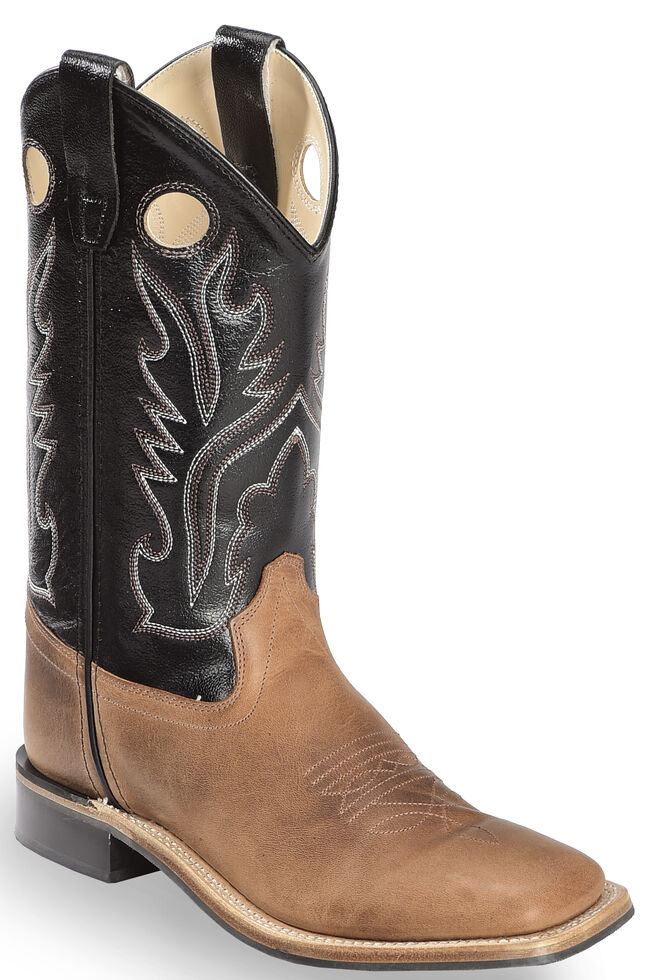 Old West Boy's Light Black Calf Leather Boots - Square Toe , Light Brown, hi-res