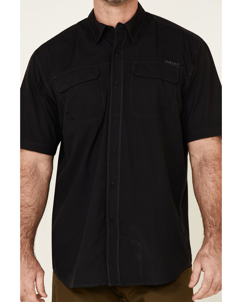Ariat Men's Black Ventek Outbound Button Short Sleeve Western Shirt , Black, hi-res
