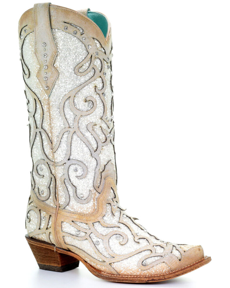 Corral Women s White Glitter Inlay Western Boots - Snip Toe ... 51e97380b1