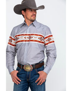 Roper Men's Grey Aztec Border Print Snap Long Sleeve Western Shirt , Grey, hi-res