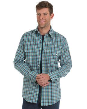 Wrangler Men's Turquoise Wrinkle Resistant Plaid Shirt - Tall , Turquoise, hi-res