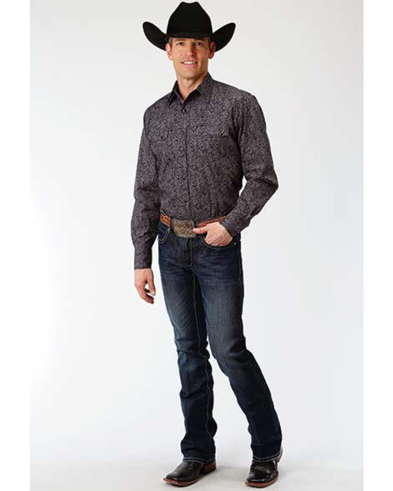Roper Men's West Made Black Paisley Print Long Sleeve Western Shirt, Black, hi-res