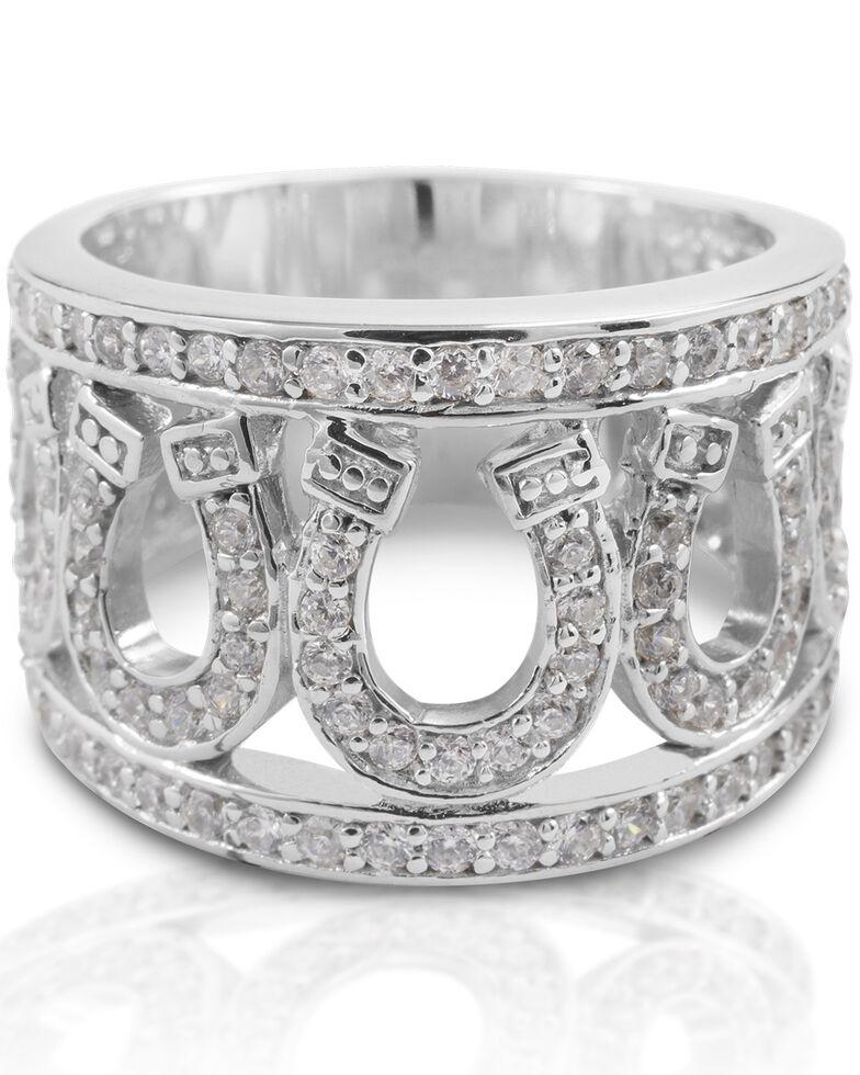 Kelly Herd Women's Seven Horseshoe Ring , Silver, hi-res
