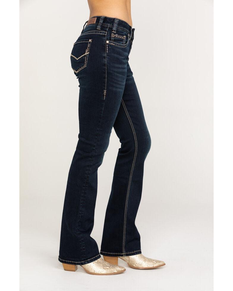 Rock & Roll Cowgirl Women's Dark Vintage Wash Basic Bootcut Jeans, Blue, hi-res