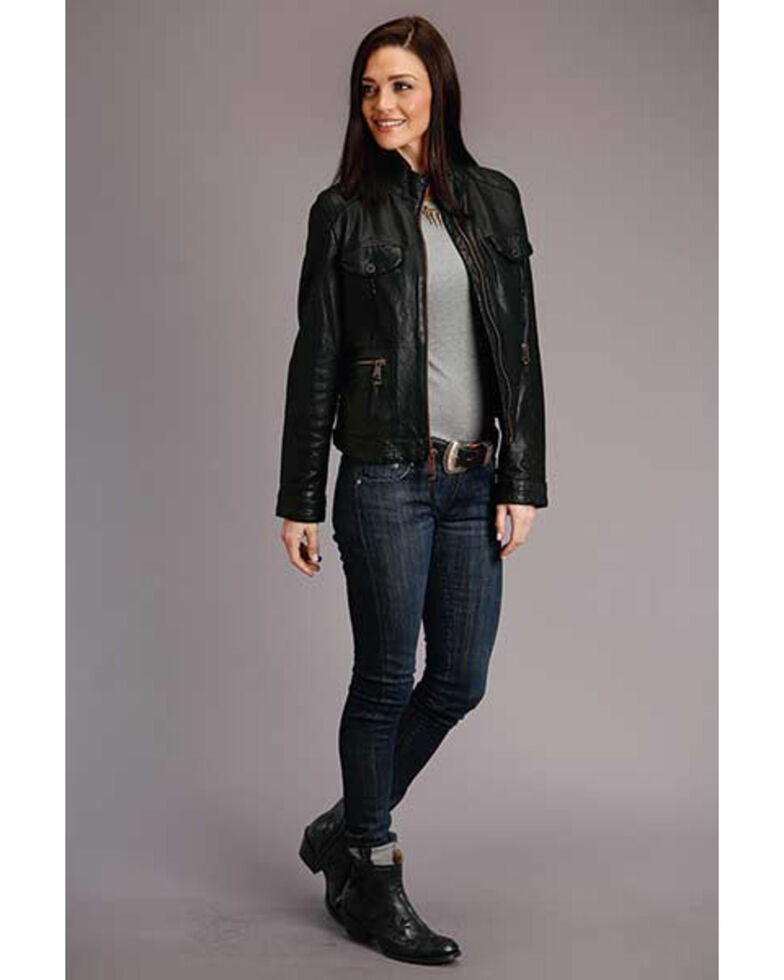 Stetson Women's Black Leather Jacket , Black, hi-res