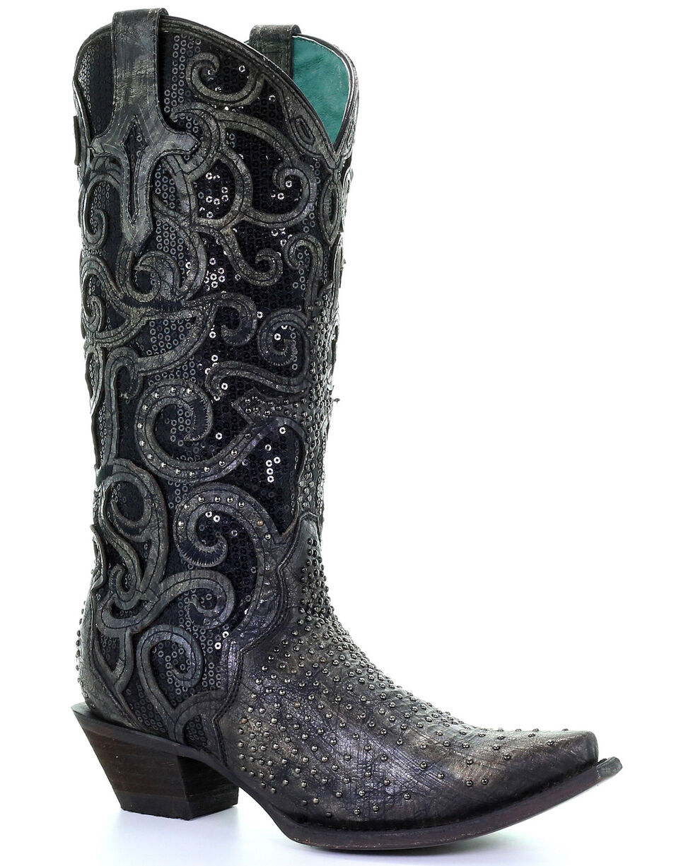 Corral Women's Black Overlay Studded Western Boots - Snip Toe, Black, hi-res