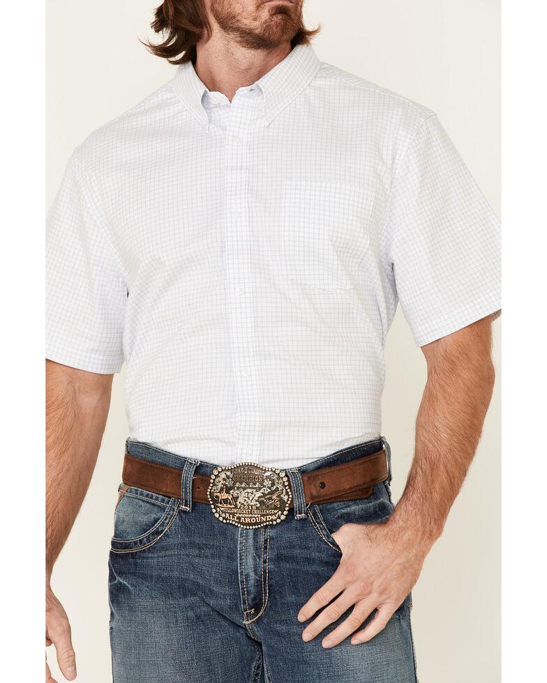 Cody James Core Men's Wichita Small Plaid Short Sleeve Button-Down Western Shirt - Big, Light Blue, hi-res