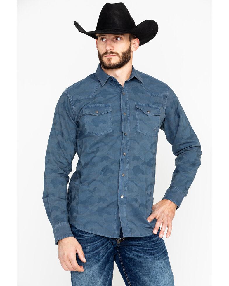 Ariat Men's Rackard Retro Camo Long Sleeve Western Shirt , Blue, hi-res