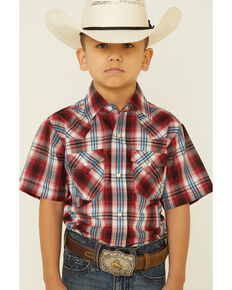 Ely Walker Boys' Red & Black Plaid Short Sleeve Snap Western Shirt , Red, hi-res