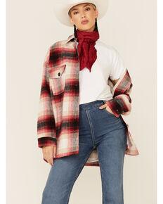 Elan Women's Plaid Shacket, Red, hi-res