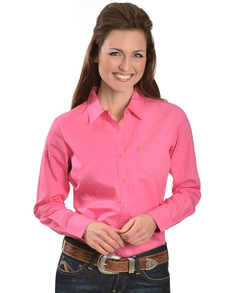 Ariat Women's Pink Poplin Long Sleeve Button-Down Western Shirt, Pink, hi-res