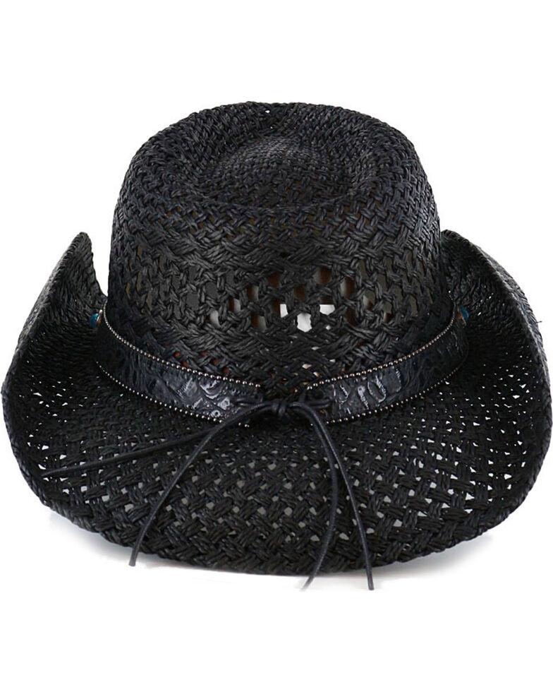 Shyanne Women's Alabama Straw Hat, Black, hi-res