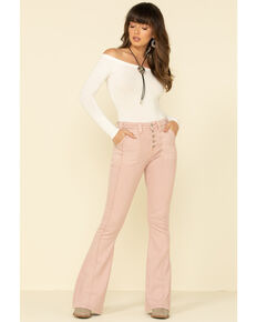 Rock & Roll Denim Women's Blush High Rise Flare Jeans , Blush, hi-res