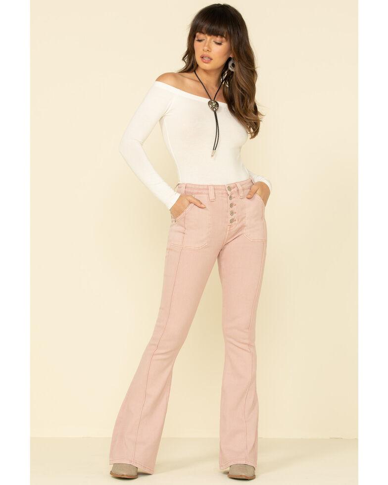 Rock & Roll Denim Women's Blush High Rise Flare Jeans , Blush, hi-res