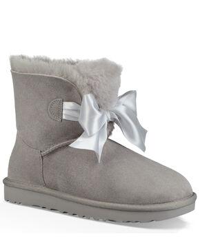 UGG Women's Seal Gita Bow Mini Boots - Round Toe, Grey, hi-res