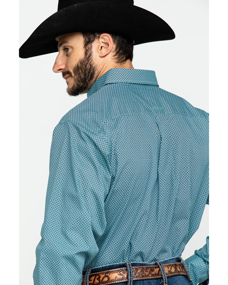 Ariat Men's Wrinkle Free Waldmiller Geo Print Long Sleeve Western Shirt , Turquoise, hi-res