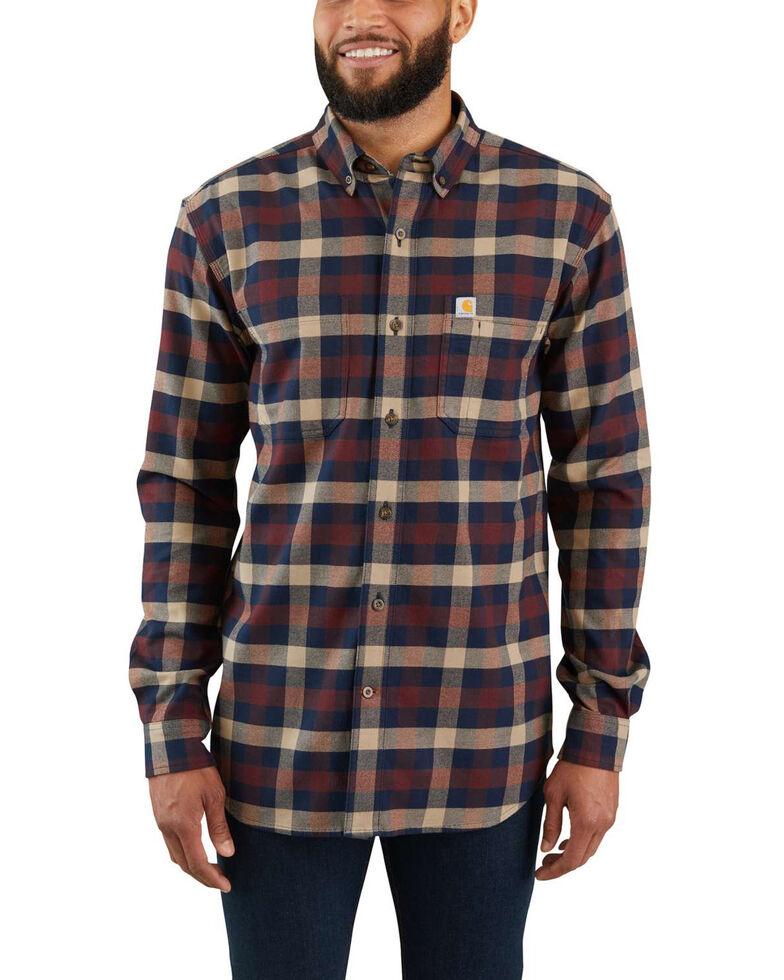 Carhartt Men's Rugged Flex® Hamilton Plaid Long Sleeve Work Shirt - Big , Beige/khaki, hi-res