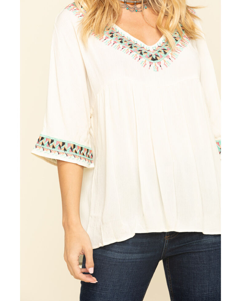 Wrangler Women's Ivory Aztec Embroidered Babydoll Top, Ivory, hi-res