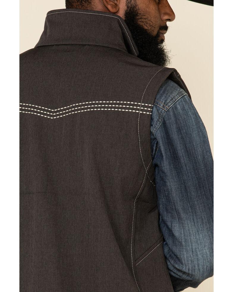 Cowboy Hardware Men's Brown Logo Poly Shell Zip Front Vest , Brown, hi-res