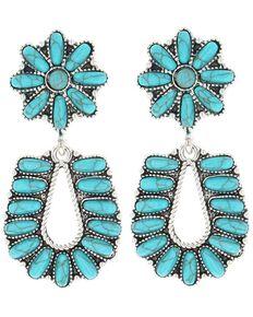 Montana Silversmiths Women's Starred Horseshoe Turquoise Earrings, Turquoise, hi-res
